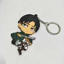 Anime Attack on Titan Figures Toys PVC keychain Comic Shingeki no Kyojin Rivaille Eren Figuras Key Bag Pendants 10pcs/lot