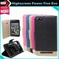 Moda de Luxo de Couro Flip Caso Capa Protetora de Telefone para Highscreen poder cinco estilo evo 5 polegadas telefone com slot para cartão 5 cores