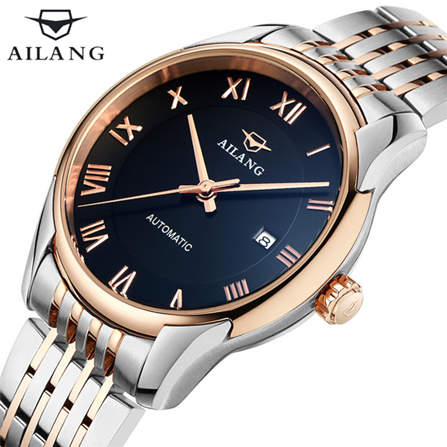 Hot Sale Famous brand AILANG Stainless steel gold Men watch Business Waterproof Wrist watch Men Automatic Mechanical Watch 2016 hot sale top brand ailang luxury men watches casual fashion waterproof stainless steel wristwatches mechanical watch