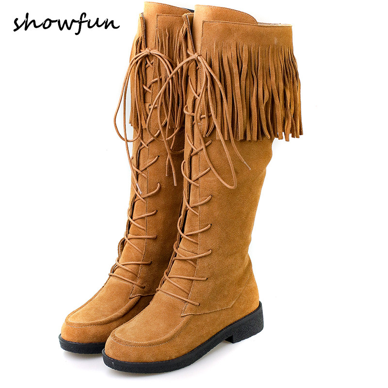 Women's genuine suede leather lace-up knee high knight winter snow boots brand designer flats long boots cold weather shoes sale women s winter platform flats over the knee boots brand designer genuine suede leather patchwork elastic long boots shoes women