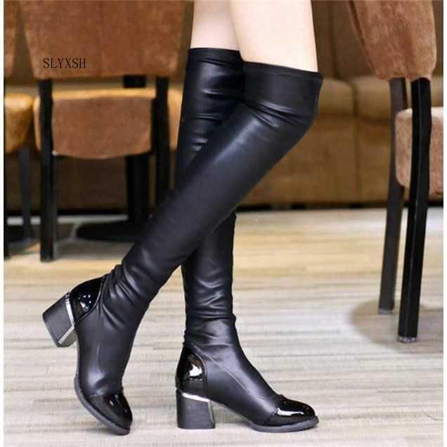 2019 Moda PU Deri Diz Çizmeler Kadınlar Payetli Ayak Elastik Streç Kalın Topuk Uyluk Yüksek Sürme Kış Çizmeler Boyutu 40