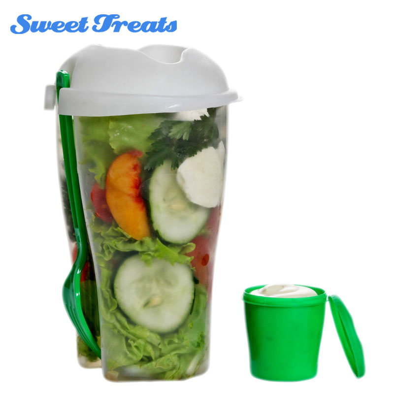 Fresh Salad Container Serving Cup Shaker with Dressing Container Fork Food Storage, Use This Bowl for Picnic, Lunch to Go