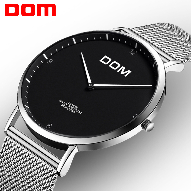 Women Watch DOM Mesh steel Ultra Thin Business Quartz Watches Fashion Casual leather Strap Lover Wristwatch men relogio feminino цены