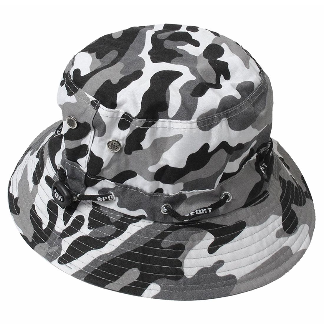 Camouflage Pattern needle Brim Cotton Bucket Sun Cap Hat for Man