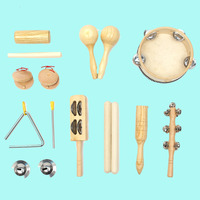 10PCS Wooden Percussion Set Kid Children Toddler Musical Instrument Toys Band Kit