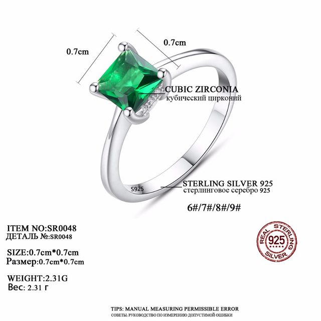 CZCITY Emerald Simple Female Zircon Stone Finger Ring 925 Sterling Silver Women Jewelry Prom Wedding Engagement Rings Brand Gift 3