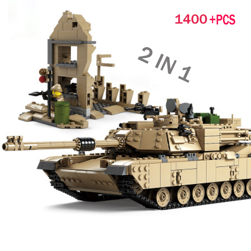 LWKO 2 IN 1 Century Military M1 A2 Tank Cannon Deformation Car DIY Compatible With Legoe Tank Building Blocks toys for children 2 in 1 transformable assembly building blocks car for children puzzling toys