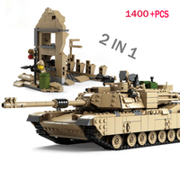 LWKO 2 IN 1 Century Military M1 A2 Tank Cannon Deformation Car DIY Compatible With Legoe Tank Building Blocks toys for children