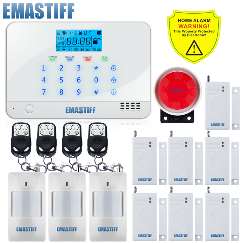 Support English Russian Spanish French Voice Manual LCD Display Home Security GSM Kit SIM SMS Alarm System LCD Screen 4 Band russian french spanish voice quad band gsm home security alarm system gsm sms intercom lcd display with door security sensor