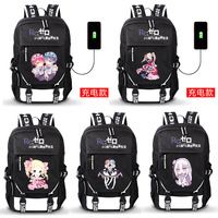Re:Life In A Different World From Zero Ram Rem Cartoon Backpack USB Charging Teenager Bookbag School Bag Laptop Shoulder Bag