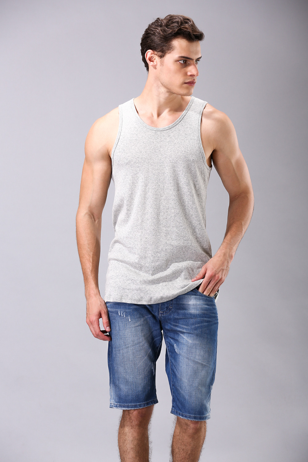 New Arrival Grey Stringer Tank Top Men Bodybuilding