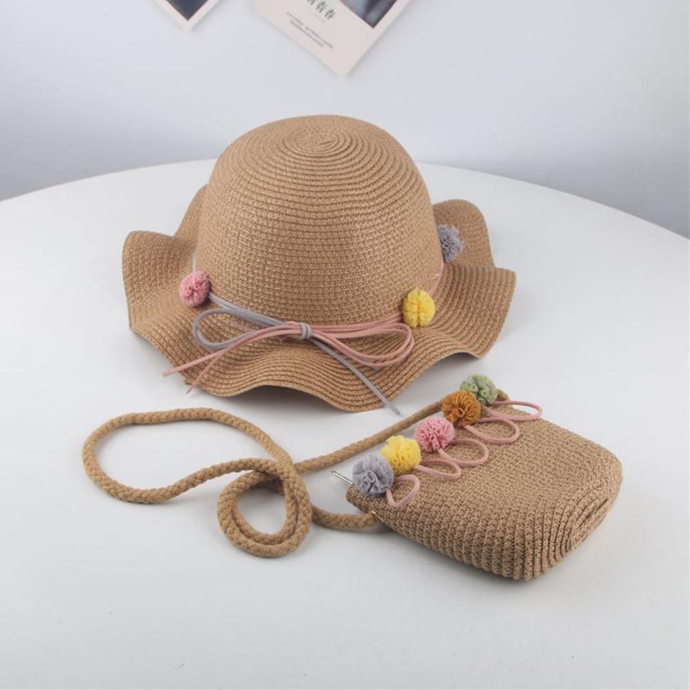 New Fashion Lovely Kids Baby Girl Anti-UV Straw Hat Children Summer Visor Beach Wavy Sunhat Cap Bag