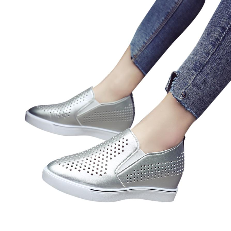 Hollow Out Increasing Wedges Thick Bottom Casual Shoes Sneakers Womens Sandals Plus Size 35-41 Flats Sandals For 2018 Summer Sh