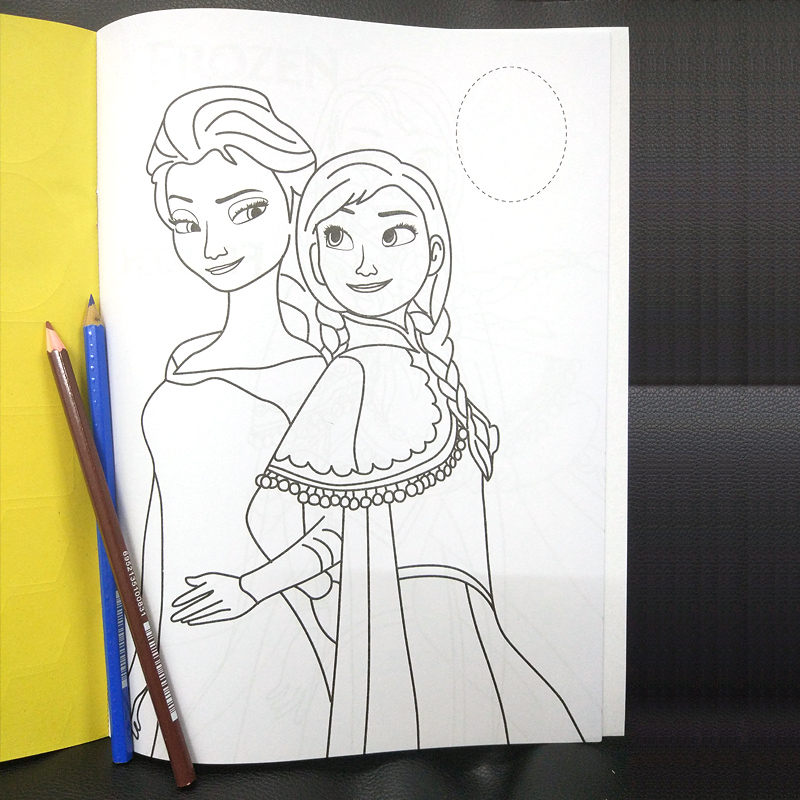 16 pages Snow Princess Girls Coloring Book Sticker Book For kids Children Adults colouring Painting Drawing story color books   (4)