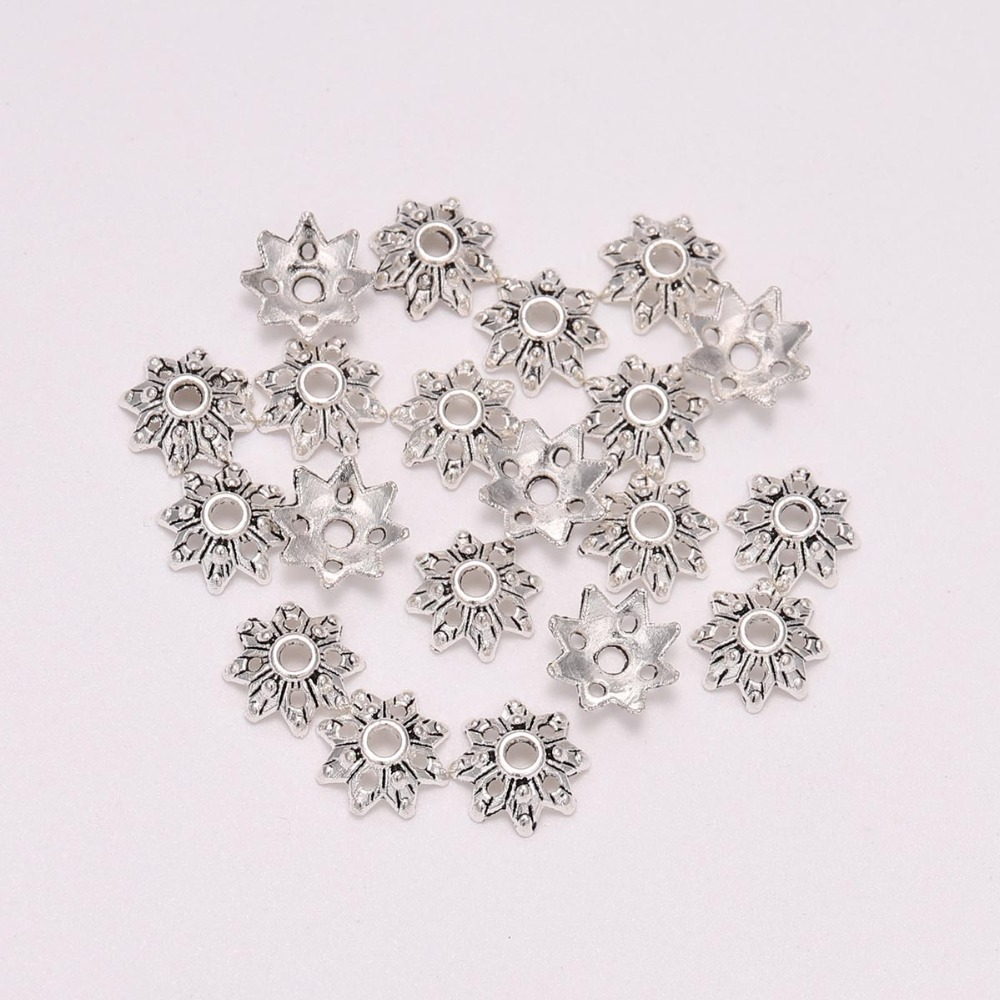 100pcs/lot Antique Silver Plated Hollowed Flower Loose Sparer End Bead Caps For DIY Jewelry Making Bracelet Accessories Findings