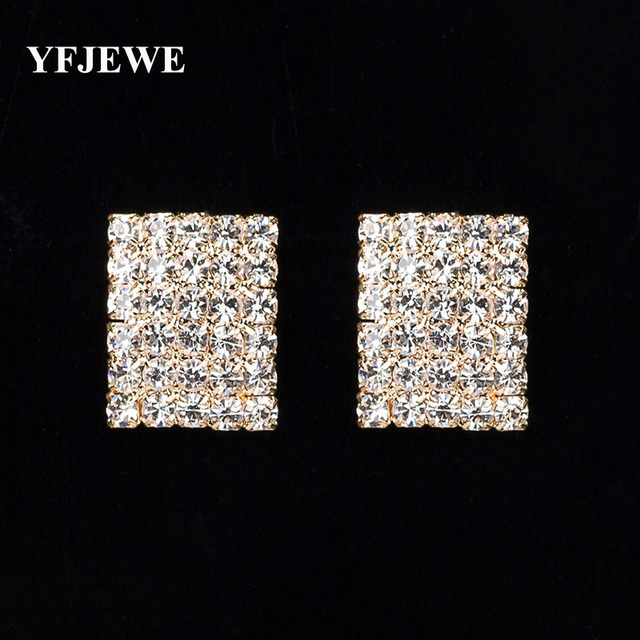 YFJEWE New Fashion Women Jewelry Accessories Square OL Fashion Full Rhinestone B