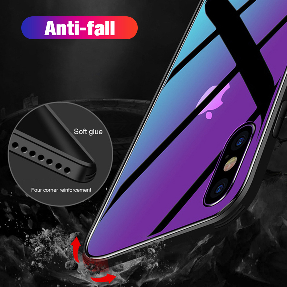 Gradient Covers For Iphone Xr Cases Tempered Glass Coque For For Iphone X 8 7 6 6S Plus XR XS MAX Smart Accessories Hard Bumper in Half wrapped Cases from Cellphones Telecommunications