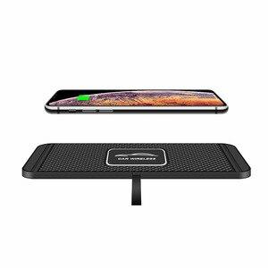 Image 2 - QIไร้สายได้อย่างรวดเร็วสำหรับiPhone 11 XS 12รถชาร์จPadสำหรับSamsung S10แท่นวางลื่นเสื่อรถแผงควบคุม
