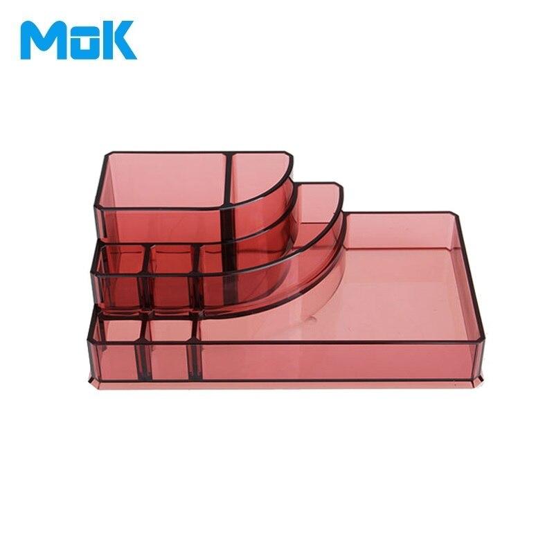 8 divider Ship Design Wine Red Crystal Multifunctional Storage Box Makeup Organizer Plastic Jewelry Rangement Maquillage