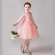 JaneyGao Flower Girl Dresses For Wedding Party With Long Sleeves Girls Princess Dress  Korean New Style Elegant Girl Formal Gown все цены