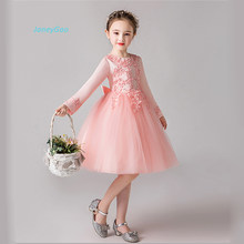 59601eaa1844 JaneyGao Flower Girl Dresses For Wedding Party With Long Sleeves Girls  Princess Dress Korean New Style Elegant Girl Formal Gown