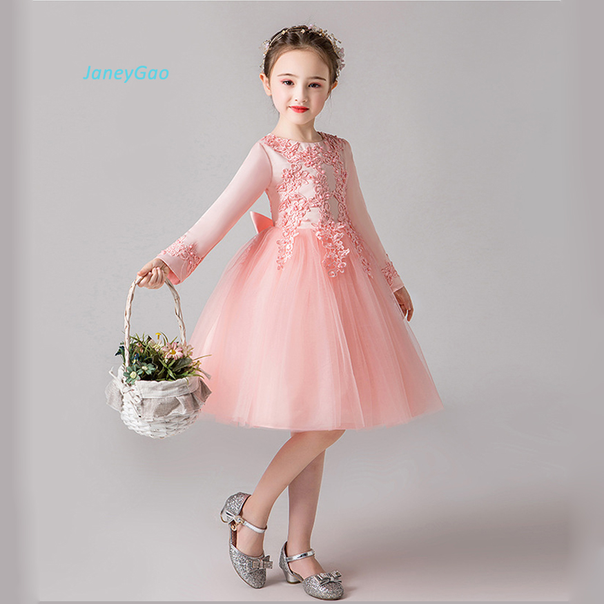 JaneyGao Flower Girl Dresses For Wedding Party With Long Sleeves Girls Princess Dress Korean New Style Elegant Girl Formal Gown