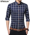 2017 Men Long Sleeve single-breasted cultivate one's morality  Men grid Brand Men shirt Size M-5XL 1706
