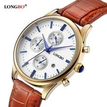 LONGBO Brand Luxury Casual Men Watch Gold Plated Leather Strap Waterproof Quartz Wrist Watch Women for