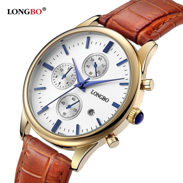 c7457e0bf00 Marca LONGBO Luxo Casual Homens Relógio Banhado A Ouro Pulseira de Couro  Mulheres Relógio de Pulso