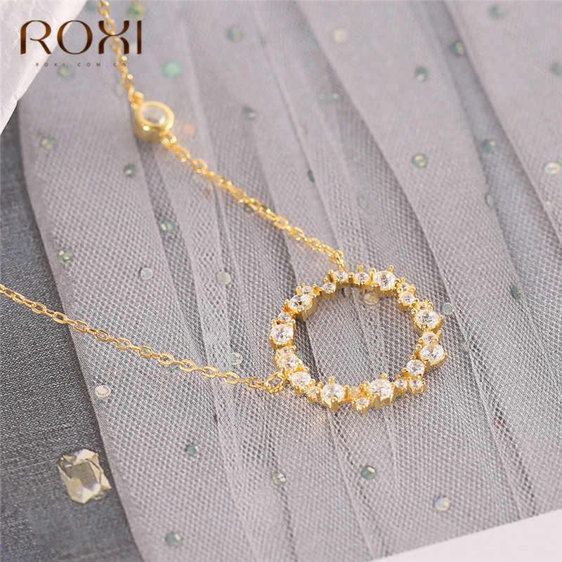 ROXI złoty okrągły wisiorek naszyjnik dla kobiet proste kobieta długi łańcuch naszyjnik 925 Sterling Silver biżuteria kryształowe naszyjnik Kolye