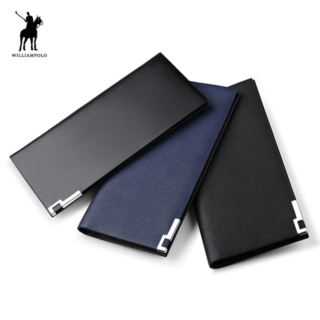 97e8abe057 Men Genuine Leather Long Thin Clutch Wallet WILLIAMPOLO 13 Credit Card And  Business Card Holder Fashion Slim Purse Minimalist