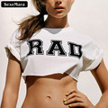 "SexeMara 2017 Fashion ""RAD"" Printed White T shirts Short Sleeve Dew Navel Crop Top Harajuku  Sexy Fitness Women Tops F1012"