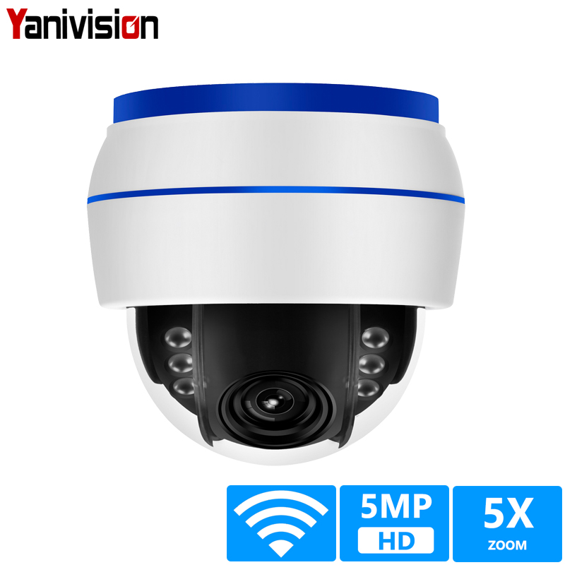 HD 5MP Dome IP Camera Sony335 WiFi PTZ 5X Optical Zoom CCTV Video Surveillance Camera 128G SD Card Mic Sound Record Onvif image