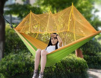 Free Shipping 260x130cm Portable High Strength Parachute Nylon Camping Mosquito Double Hammock With Mosquito Nets Hamaca