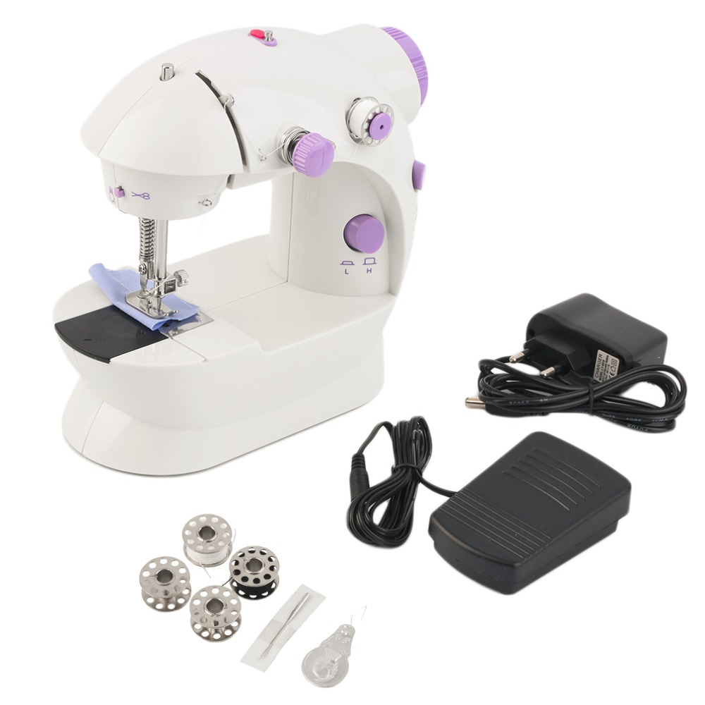 Mini Electric Handheld Sewing Machine with LED Multifunction Dual Speed Double Thread Automatic Tread Rewind Sewing Machine