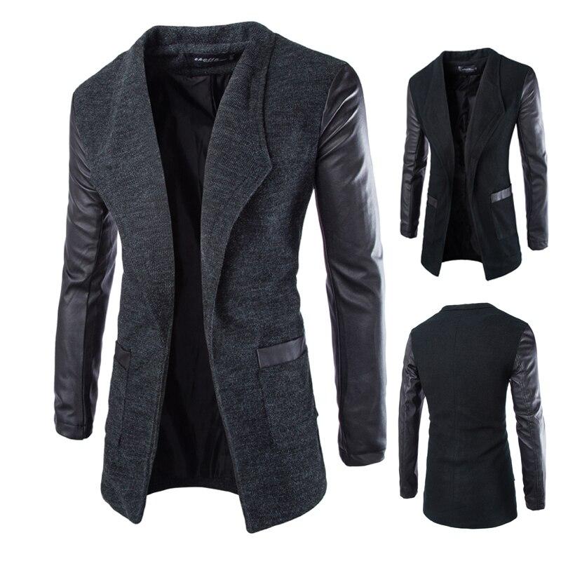 ᑐPerdagangan baru wol kulit lengan ramping pria mantel panjang - a238 09926514e7