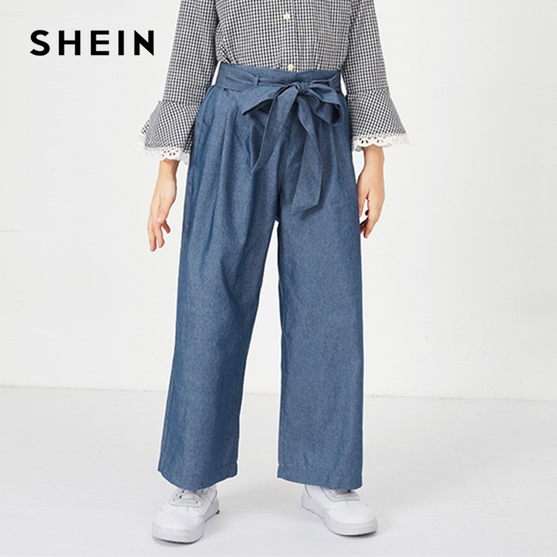 SHEIN Kiddie Blue Elastic Waist Belted Wide Leg Elegant Girls Pants 2019 Spring Fashion Vintage Trousers Pants Girl Kids Clothes scallop hem tie waist wide leg pants