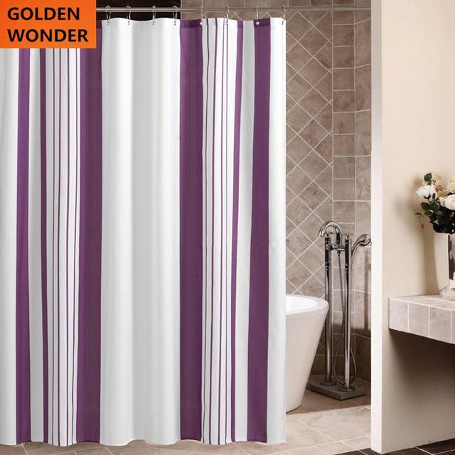 Modern Simple Fashion Purple Stripes Thick Waterproof Bathroom Curtain Polyester Shower Bath