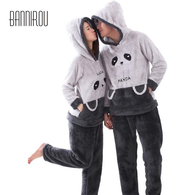 7cac9081e5b3 Winter Couple Pajamas Set Plush Hooded Panda Cartoon Cure Animal Thick  Matching Pyjama For Lover His-and-her Nightwear Home Wear