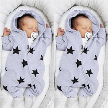 Cute Baby Girls Boys Clothes Stars Print Hooded Zipper Romper Jumpsuit Outfits