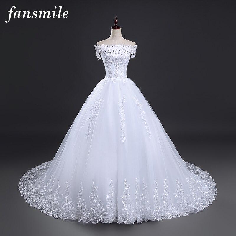 Image 3 - Fansmile High Quality Vintage Lace Long Train Wedding Dresses 2019 Vestido De Noiv Plus Size Bridal Dress Wedding Gowns FSM 151T-in Wedding Dresses from Weddings & Events