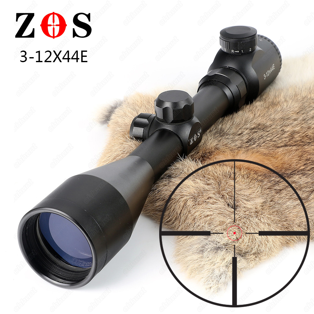 цены ZOS 3-12x44E Hunting Rifle Scope R29 Glass Etched Reticle Red Green Illuminated Riflescope Tactical Optical Sight Free Shipping