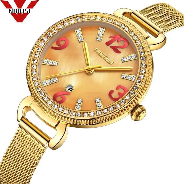 NIBOSI Women Watches Golden Wrist Watch Luxury Brand Steel Ladies Quartz Watch W