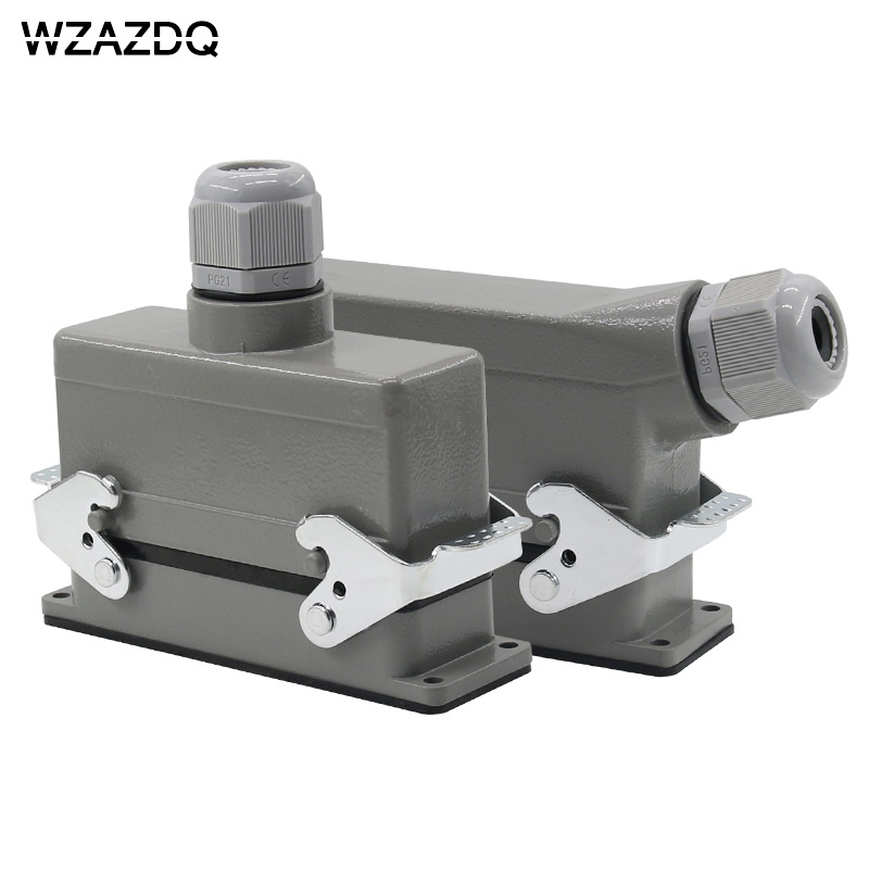 Rectangular heavy-duty connector HE-024 core industrial waterproof aviation plug socket outlet line or side outlet 16A 500V AZDQ he 024 4d 16a terminal block power crimp plug heavy duty connectors for spinning and packing machine