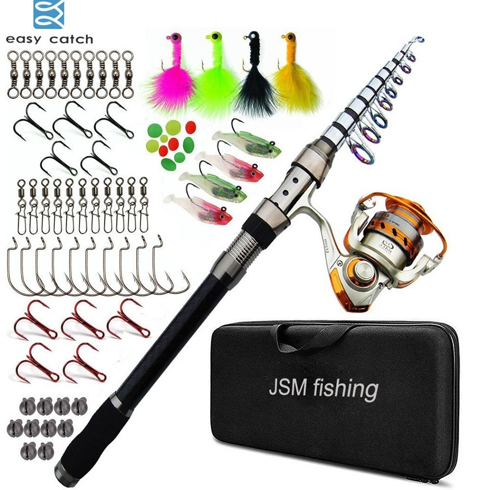 Easy Catch Carbon Fiber Telescopic Spinning Fishing Rod Combo with Metal Reel Fishing Gear for Sea Saltwater Fishing цена 2017