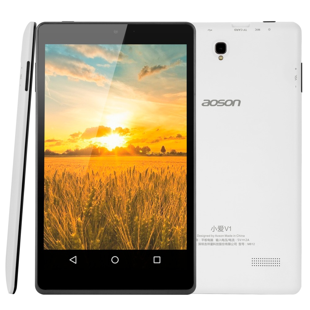 Aoson M812 8 Inch HD IPS Screen 1280*800 A33 Quad Core Tablet PC 1GB/16GB Bluetooth WIFI Android 5.1 Tablets Dual Camera new aoson m751 7 inch android 5 1 tablet pcs 1024 600 ips screen tablets 8gb rom 1gb ram quad core dual camera wifi bluetooth fm