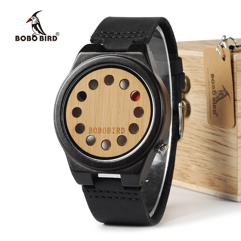 BOBO BIRD WB17 Mens Watches Top Brand Luxury Black Sandalwood Bamboo 12 Holes Dial Quartz Watches With Real Leather Band OEM bobo bird 12 holes design bamboo wooden watch mens quartz analog watches with genuine leather band as gift montre homme 2017