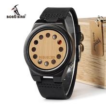 BOBO UCCELLO WB17 Mens Orologi Top Brand di Lusso di legno di Sandalo Nero di Bambù 12 Fori Dial Orologi Al Quarzo Con Fascia di Cuoio Reale OEM