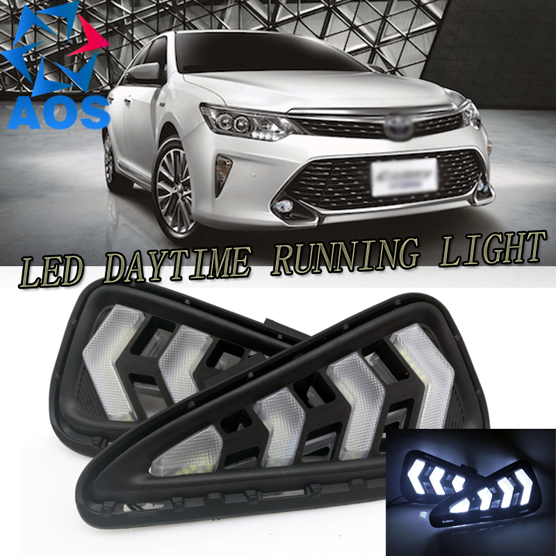 2PCS New Style car LED DRL auto daylight Daytime Running Lights freeshipping for Toyota Camry Aurion 2015 2016 автоинструменты new design autocom cdp 2014 2 3in1 led ds150