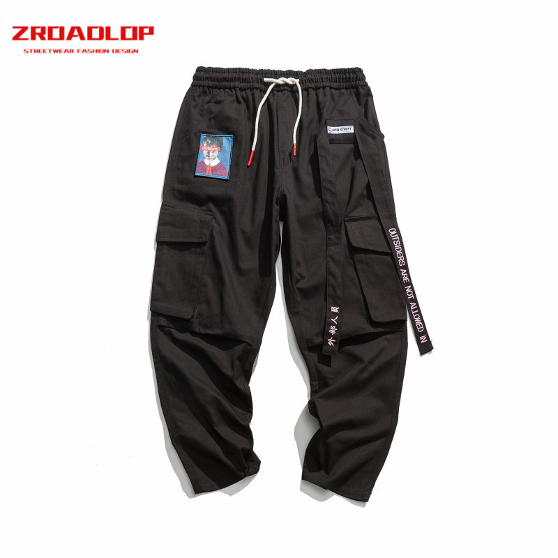 Men Joggers Hip Hop Harem Streetwear Pants Ribbons Letter Embroidery Casual Trousers Popular Pink Cargo Pants 2019